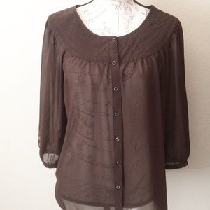 Ann Taylor Loft Sheer Blouse Top